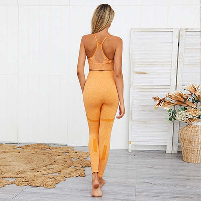 Women Seamless Bra Leggings 2 Pieces Set -Yellow