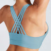 Cross Strap Back Sports Bra Top -Blue