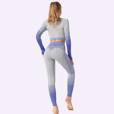 Women's Seamless Clothing Long Sleeve-Blue
