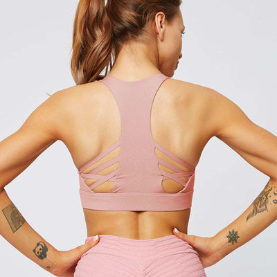 Women Cross Sports Bra Fitness Tops -Pink