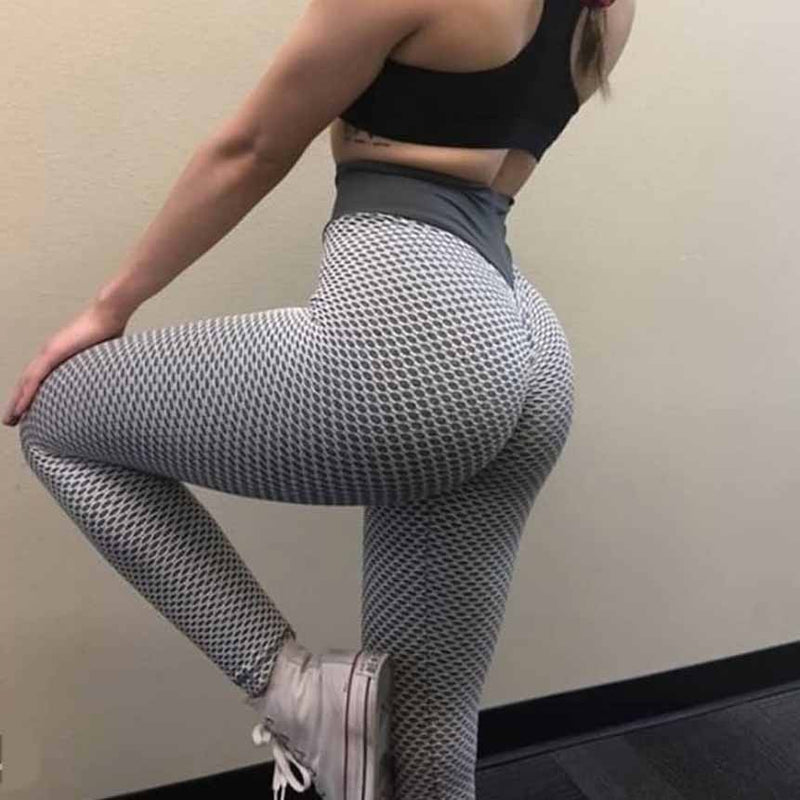 Women Printed Honeycomb Fitness Leggings - Silver