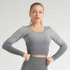 Women Seamless Long Sleeve Workout Top -Gray