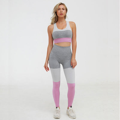 Casual Seamless Suit Workout 2 Pieces Set -Pink