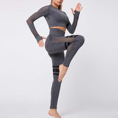 Gym Mesh Breathable Seamless Sets -Gray