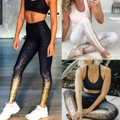 Women Yoga Pants - Sequin Printing Leggings - Black - White - Dark Gray