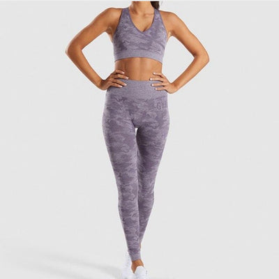 Workout Leggings  - Camo Wood Two Pieces Set - Purple