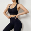 Women Sexy Fitness Sets High Waist Push Up Leggings Workout Bra 2 Piece of Sets Casual Tracksuit Female Sportswear -Black