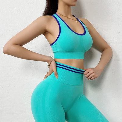 Women Sexy Fitness Sets High Waist Push Up Leggings Workout Bra 2 Piece of Sets Casual Tracksuit Female Sportswear -Green