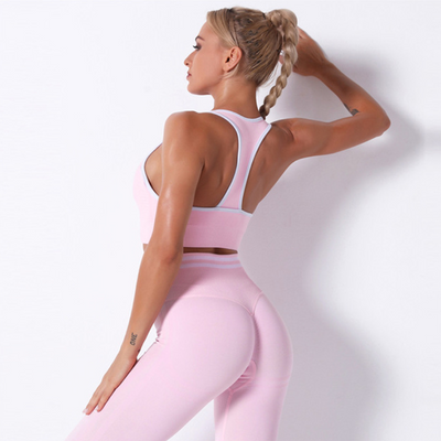 Women Sexy Fitness Sets High Waist Push Up Leggings Workout Bra 2 Piece of Sets Casual Tracksuit Female Sportswear -Pink