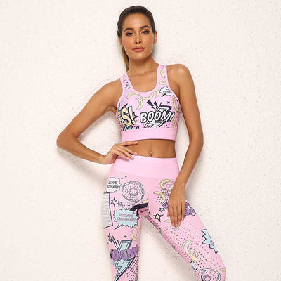 Women Funny Fitness Tracksuit Two Piece Sets