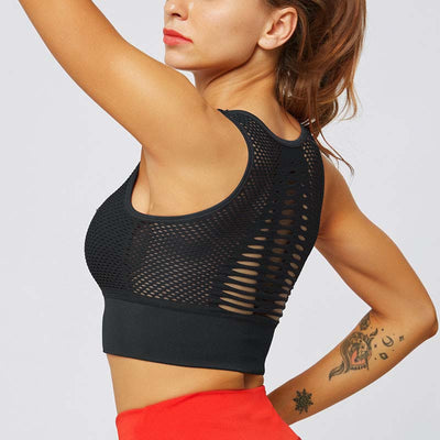 Fitness Seamless Bra Mesh Sports Tank -Black