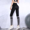 Women Fashion Letter Stripe Gym Leggings-Black