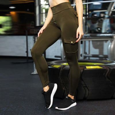 Workout Fitness Leggings With Pockets -Army Green