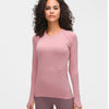 High Stretchy Seamless Sport Long Sleeve Shirts -Pink