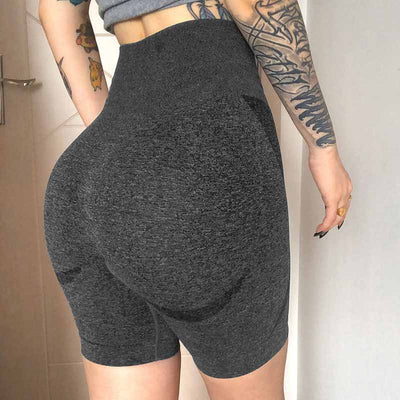 Women Seamless Gym Shorts -Gray