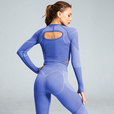 High Waist Sports Yoga Two Piece Sets - Blue