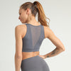 Criss Cross Back Lettering Tape Sports Bra -Gray