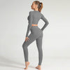 Seamless Long Sleeve Fitness Sets Tracksuit -Dark Gray