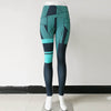 3D Printing Striped Fitness Leggings -Blue