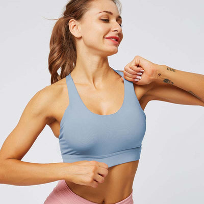 Women Cross Sports Bra Fitness Tops -Blue
