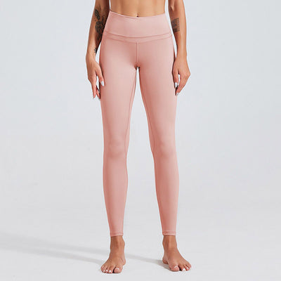 High Waist Fitness Leggings Solid Color -Pink