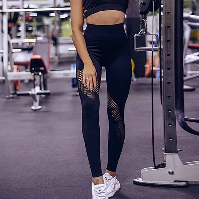 High Waist Solid Color Seamless Leggings -Black