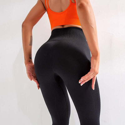 High Waist Seamless Workout Leggings -Black