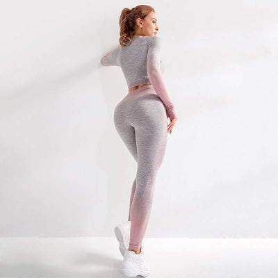 Seamlesss Gym Clothing Women Stripe Sets -Pink