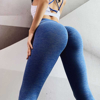 Push Up Squat Proof Workout Leggings-Blue