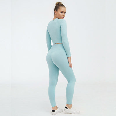 2 Piece Set Casual Seamless Tracksuits-Blue
