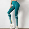 Women Fashion Letter Stripe Gym Leggings-Green