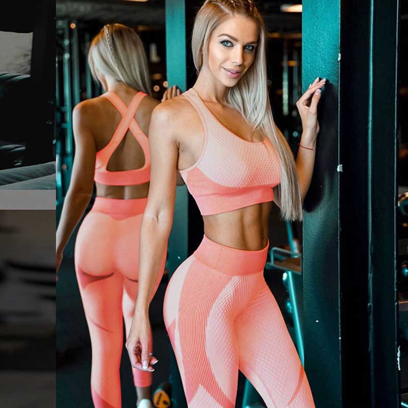 Women New Sports Set Fitness Bra Seamless Leggings