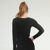 Women Seamless Long Sleeve Workout Top -Black