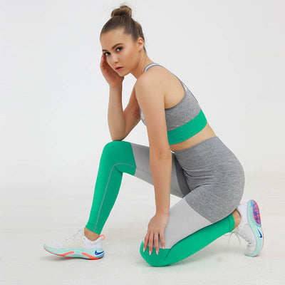 Casual Seamless Suit Workout 2 Pieces Set -Green