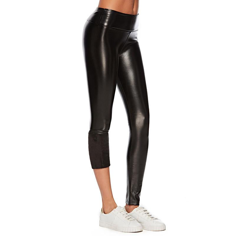PU Leather Thick Velvet Black Leggings