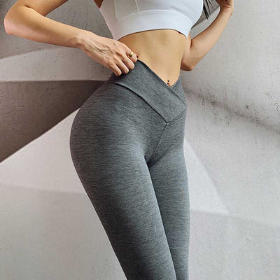Push Up Squat Proof Workout Leggings-Gray