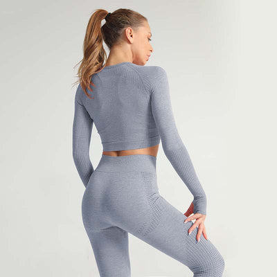 Seamless Long Sleeve Fitness Sets Tracksuit -Blue Gray