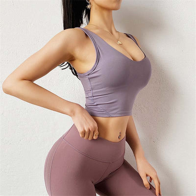 Women Sexy Backless Bra Crop Tops -Purple