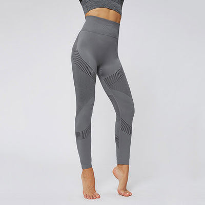 High Waist Sport Wear Seamless Leggings -Gray