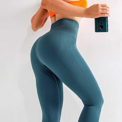 High Waist Seamless Workout Leggings -Blue