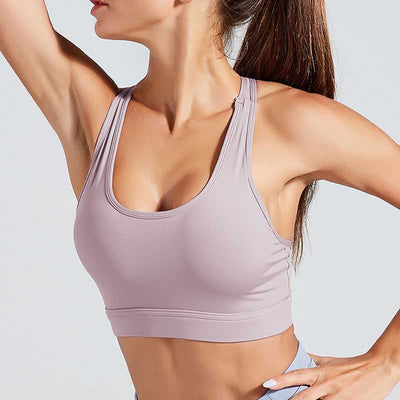 Workout High Elastic Bra Tops With Pocket-Purple
