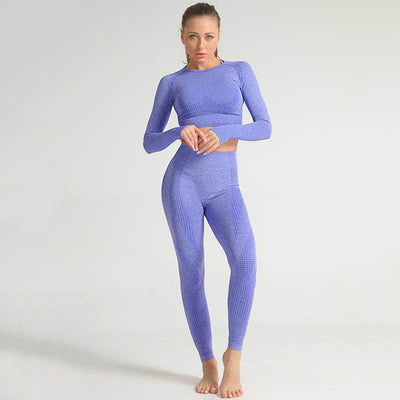 Seamless Long Sleeve Fitness Sets Tracksuit -Blue