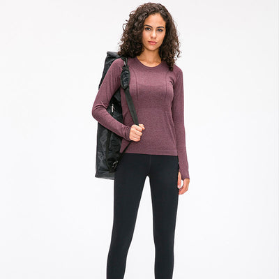 High Stretchy Seamless Sport Long Sleeve Shirts -Wine Red