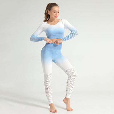 2 Pieces Women Sexy Yoga Sets -Blue