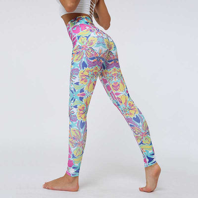 Women Gym Printing Leggings Flower Pants