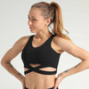Criss Cross Back Lettering Tape Sports Bra -Black