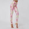 High Waist Fitness Pants Flower Print Leggings -Pink