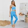 Women Seamless Bra Leggings 2 Pieces Set -Blue