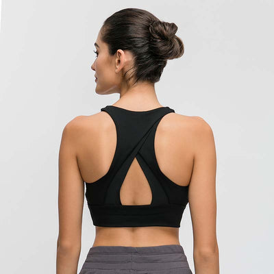 Women High Impact Fitness Sports Bra -Black