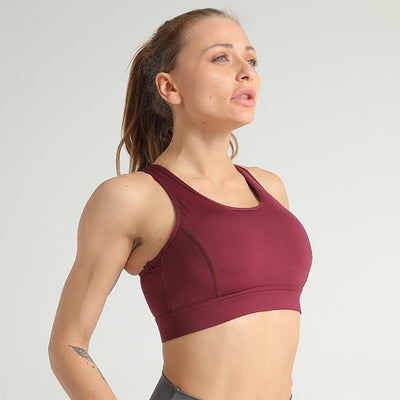 Women Breathable Sports Bra -Wine Red